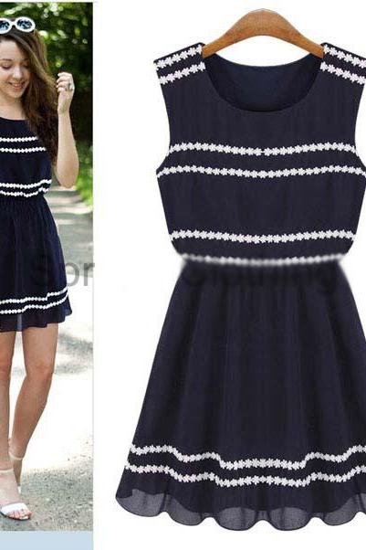 Fashion Round Neck Sleeveless Dress Kn0116Bj
