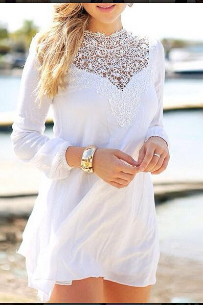 Stitching Lace Chiffon Long-Sleeved Dress Xe0104J