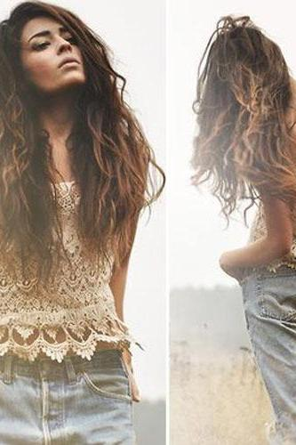 Fashion Hollow Out Crochet Lace Sling Tank Tops