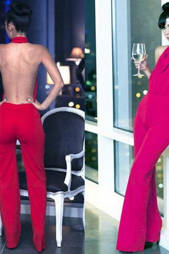 Sexy Backless Solid Color Jumpsuit