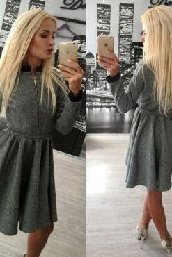 Fashion O Neck Long Sleeves Grey Spandex Knee Length Women Dress