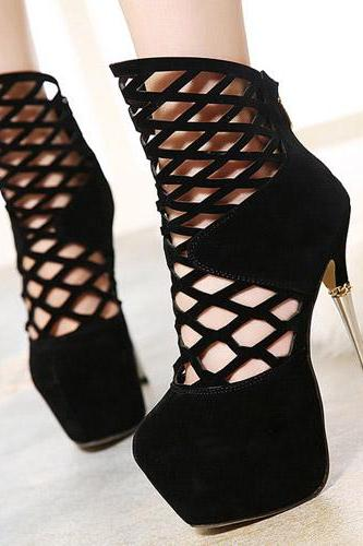 Fashion Round Closed Toe Stiletto High Heels Black Pu Pumps