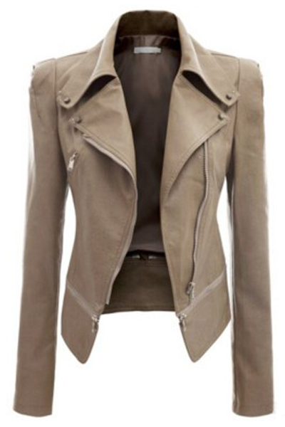Fashion Turndown Collar Long Sleeves Zipper Design Khaki Pu Jacket
