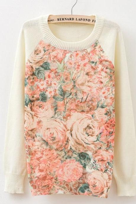 New Fashion Women Long Sleeve Floral Print Sweater Coat Pullover Knitwear Tops