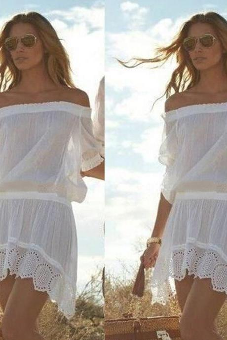 Sexy Women Bathing Suit Lace Crochet Bikini Cover Up Swimwear Summer Beach Dress