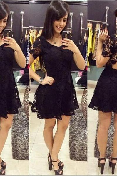 Sexy Women Summer Short Mini Lace Dress Casual Sleeveless Party Evening Cocktai