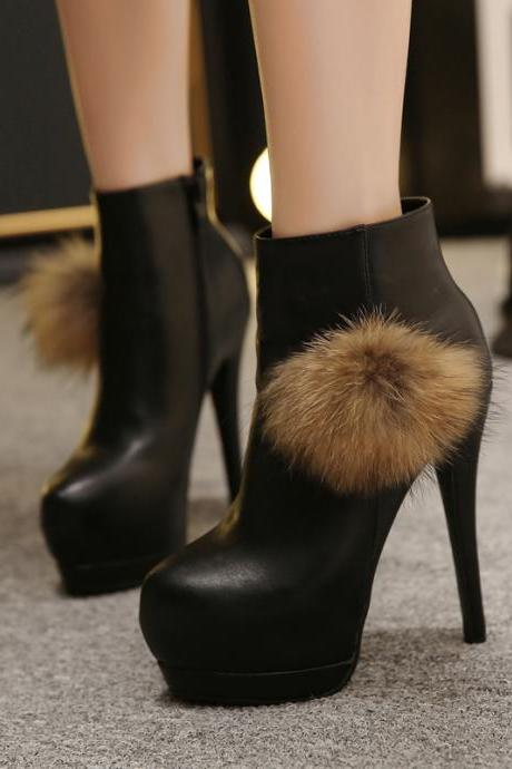 Spring Autumn Round Toe Zipper Super High Stiletto Black Pu Ankle Feathers Martens Boots