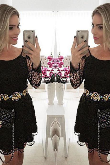 Women'S Cocktail Lace Evening Floral Paint Long Sleeve Short Casual Dress