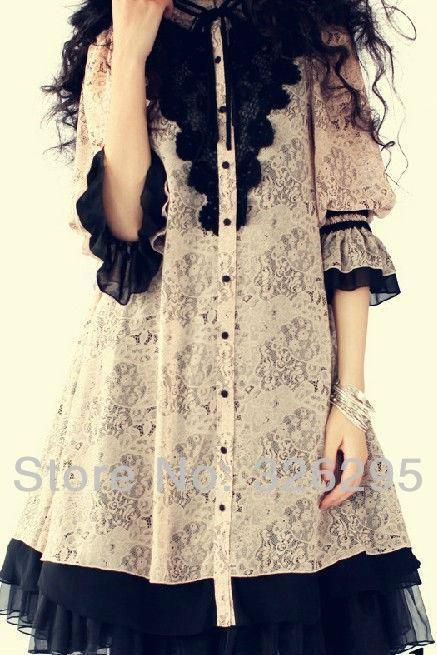 Classic Gothic Lolita Lace Chiffon Dress With Butterfly Sleeves Women New 2014 Spring Fashion Silk Dresses With Lining Inside