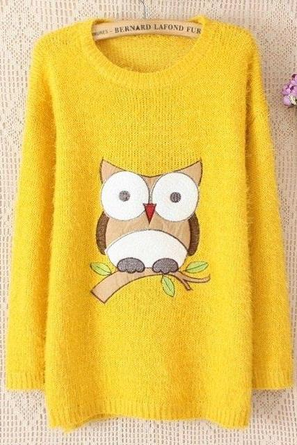 Harajuku Owl Embroidery Kawaii Long Shirt