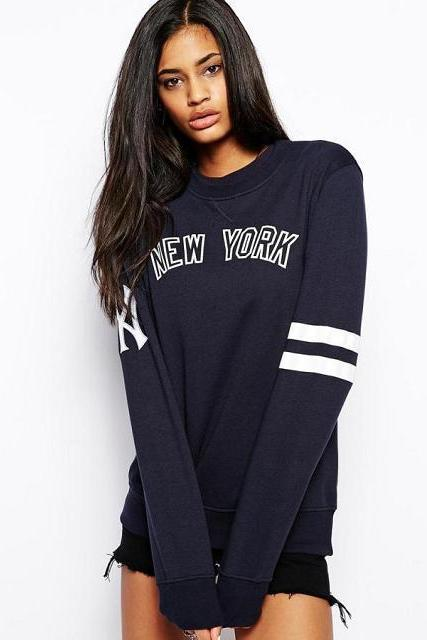 Hot Letter Print Pullover Long Sleeve Women T Shirt Chemise Jumper Sweater Tops