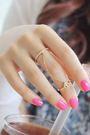 Hot New Fashion Gold Thin Simple Chain Peace Love Charm Crystal Double Ring Free