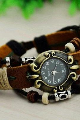 Lady Leather Bracelet Watch Ladies Fashion Clock Women Retro Watches New 2014 Gift