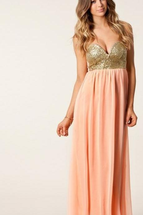 New Arrvial Pleated Maxi Sequin Bustier Dress Bnwt Peach Coral Pink