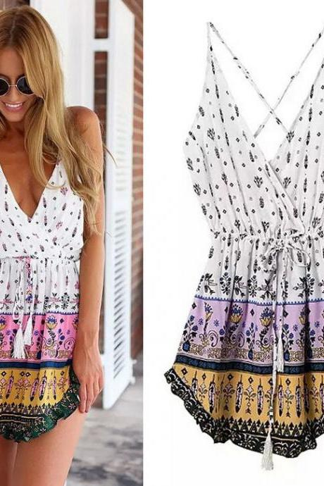 New Summer Women Sexy V-Neck Casual Mini Beach Dress Lady Boho Braces Dress