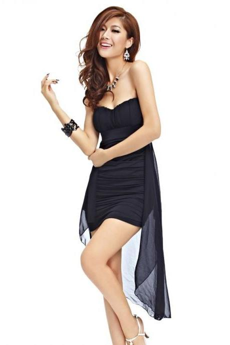 Sexy Asymmetrical Hem Pure Color Strapless Dress