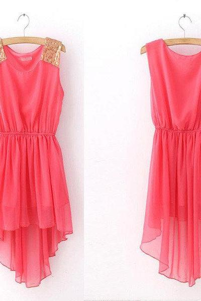 Shining Shoulder Chiffon Dress With High Low Skirt