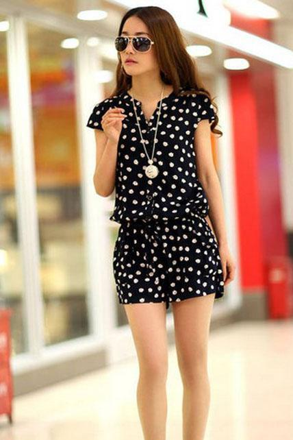 Summer Sweet Short Sleeve Dot Print Navy Rompers