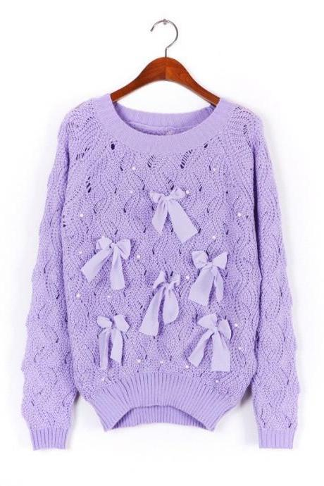 Sweater Bow Hollow Pearl - Purple