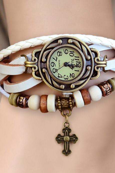 Women'S Quartz Cruciate Flower Pendant Weave Wrap Bracelet Wrist Watch