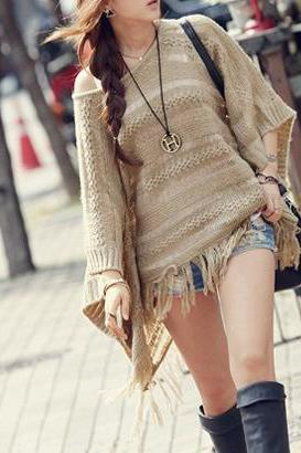 Casual Solid Sweater Hollow Tassel Hem Bat Sleeve Loose