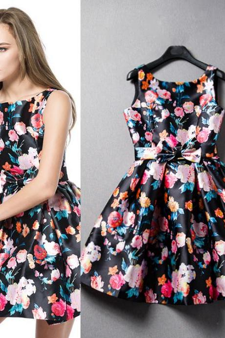 Floral Print Sleeveless Dress 302795