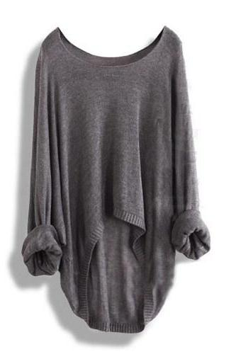 Grey Batwing Casual Loose Asymmetric Sweater Knit Top