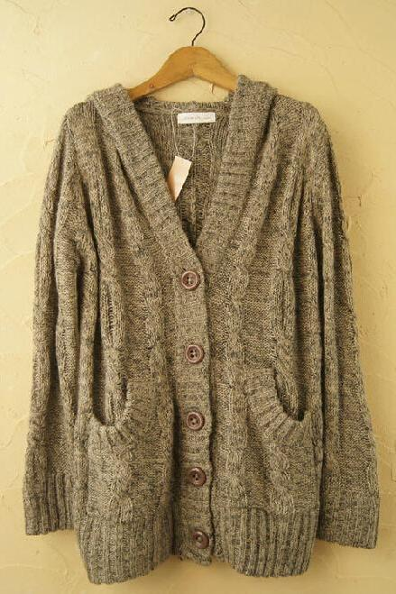 Hooded Long-Sleeved Cardigan Coat Pl1107I