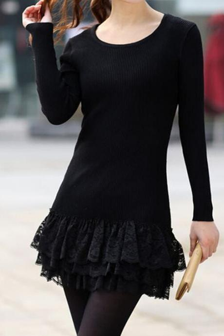 Lace Hem Sweater Knit Gauze Skirt Cake Bv1015J