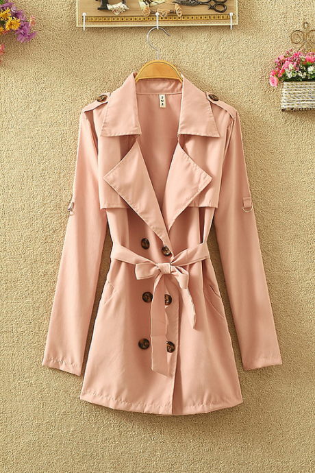 Collared Double-Breasted Belted Trench Coat