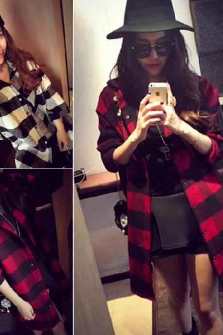 Plaid Long-Sleeved Coat Aw1020Bd