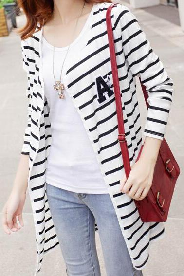Slim Striped Cardigan Sweater Aa827Be