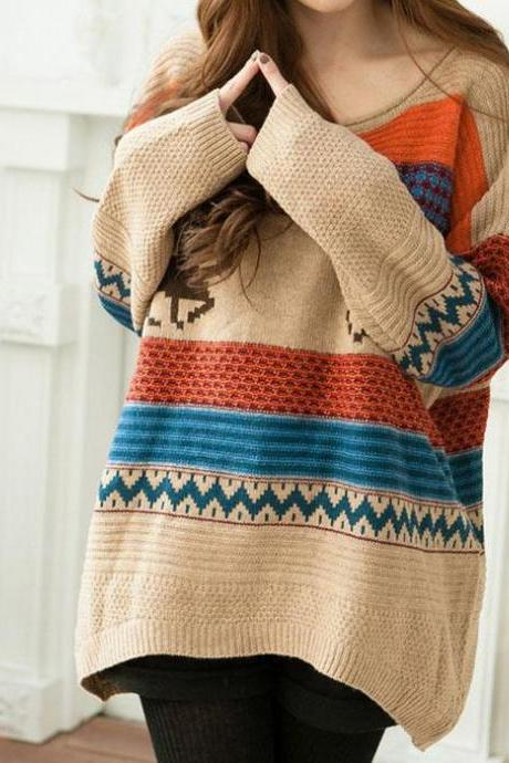 Sweater Cute Deer Patterns Color Block Stripes Zx925H