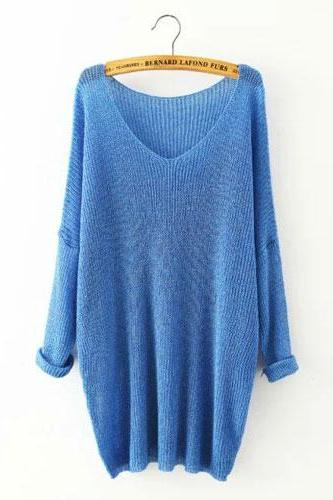 Knit Plunge V Long Sleeves Loose Fit Sweater