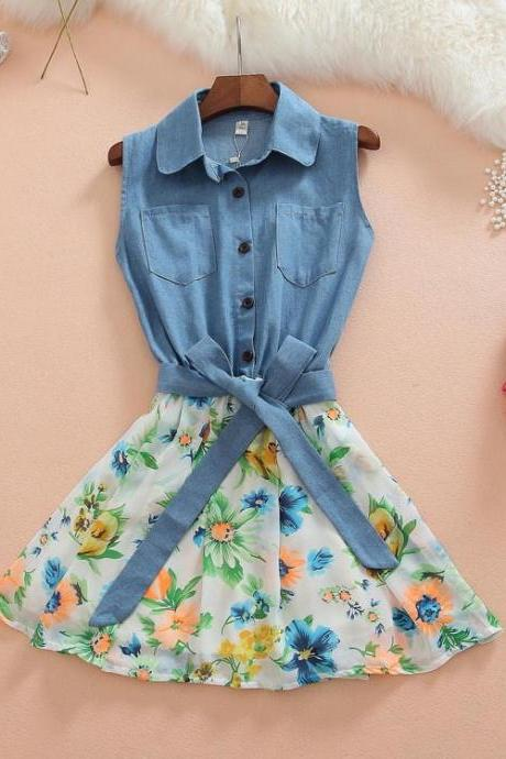 Denim Stitching Chiffon Sleeveless Dress Gg716Gh