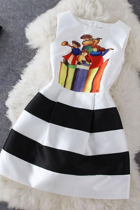 Fashion Cartoon Striped Dress #Ba808B