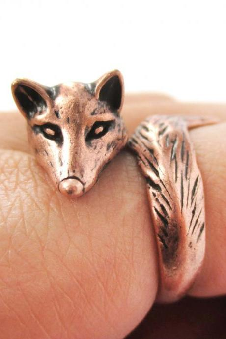 Fox Animal Ring Wrapped Around Your Finger In Copper | Sizes 5 - 9