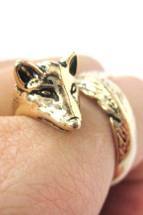 Fox Animal Ring Wrapped Around Your Finger In Shiny Gold | Sizes 5 - 9