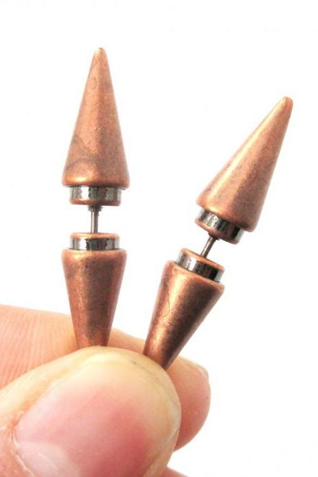 Geometric Fake Gauge Triangle Spike 3D Plug Stud Earrings In Copper