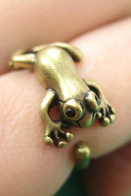 Realistic Leap Frog Animal Wrap Around Ring In Brass Sizes 4 To 8.5