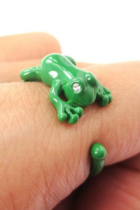 Realistic Leap Frog Animal Wrap Around Ring In Green Us Sizes 4 To 8.5