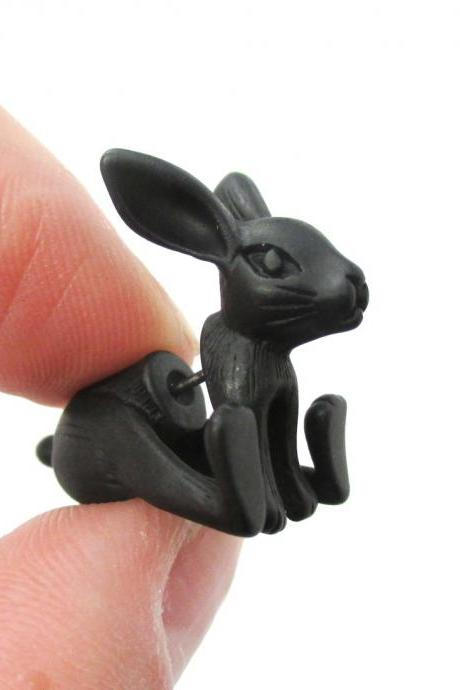 Unique Fake Gauge Detailed 3D Bunny Rabbit Animal Stud Earrings In Black