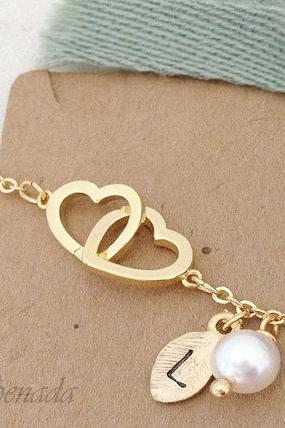 Double Heart Bracelet In Gold With Initial Charm And Pearl Everyday Jewelry Delicate Minimal Jewelry
