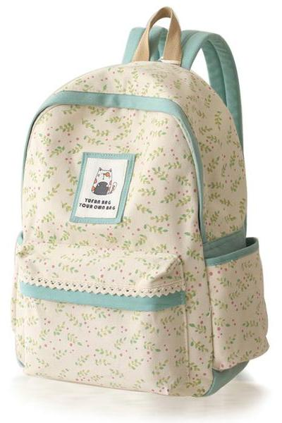 Floral Lace Canvas School Bag Travel Backpack
