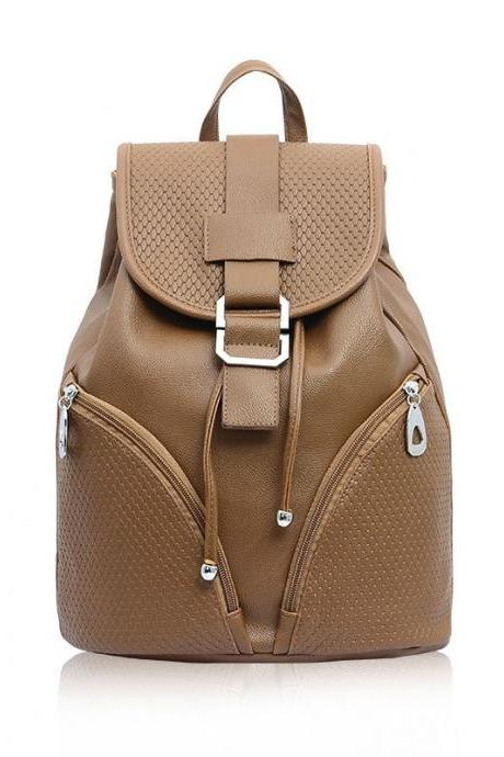 Grid Drawstring Hasp Lady Solid Leather Backpack