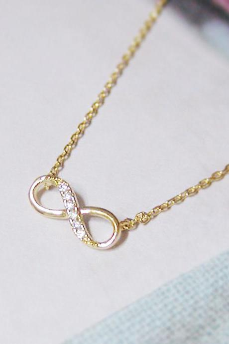 Infinity Necklace In Gold Everyday Jewelry Delicate Minimal Jewelry