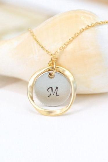 Karma Necklace Personalized Necklace Coin Necklace Friendship Gift Initial Necklace Initial Coin And Karma