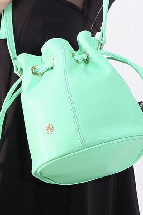 Mint Green Solid Drawstring Bucket Bag Messenger Bag
