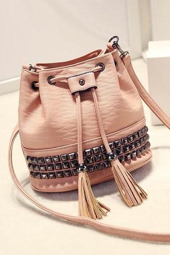 Rivet Tassels Drawstring Bucket Bag