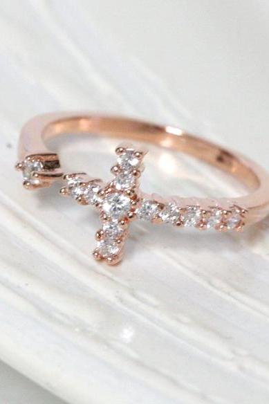 Sideways Cross Ring In Pink Gold Knuckle Ring Adjustable Ring Everyday Jewelry Delicate Minimal Jewelry